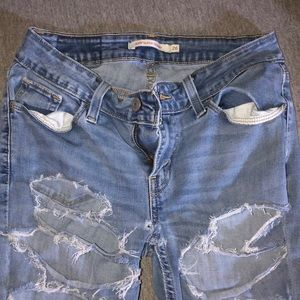Levis super skinny ripped jeans size 26 womens